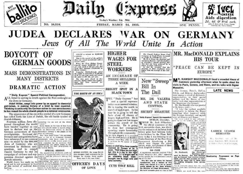 Židia vypovedali vojnu Nemecku 24.marca 1933.